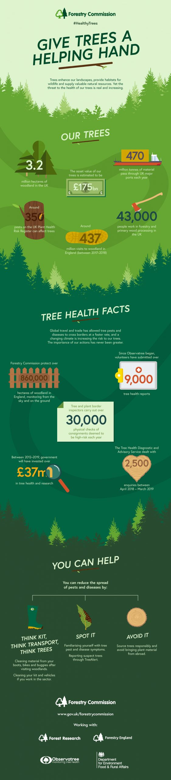 Infographic depicting facts and figures around tree and the requirements necessary to keep them healthy including the work we do and how the general public can help. Our trees: 3.2 million hectares of woodland in the UK, the asset value of our trees is estimated to be 175bn, 470 million tonnes of material pass through out UK major ports each year,  around 350 pests on the UK Plant Health resister can affect trees, around 430 million visits to woodlands in England (between 2017 to 2018), 43 ,000 people work in forestry and primary wood processing in the UK. Tree Health Facts; Forestry Commission protect over 860,000 hectares in England monitoring from the sky and the ground, since Observatree began volunteers have submitted over 9000 tree health reports, tree and plant border inspectors carry out over 30,000 physical checks of consignments deemed to be high risk each year,  between 2012 and 2019 government have invested over 37 million in tree health and research, the Tree Health diagnostic and advisory service dealt with 2500 enquries between April 2018 and March 2019.  You can help then three lines to three separate points. 1st Think Kit, Think Transport, Think Trees. 2nd Spot It familiarise yourself with tree pest and disease symptoms  and report through Tree Alert, 3rd Avoid It, source trees responsibly and avoid bringing plant material from abroad.
