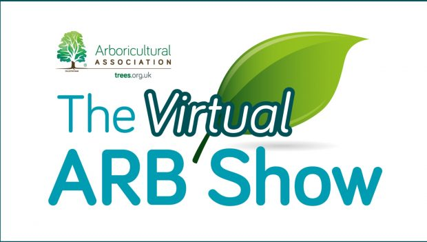 The logo for the virtual Arb show with an image of a leaf