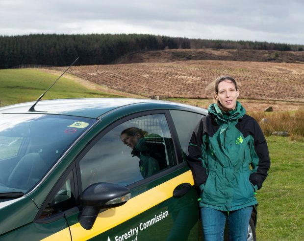 A woman wearing blue jeans and a green and black jacket stands by a green and yellow car parked in a field, looking directly at the camara
