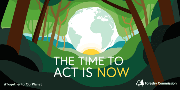 A grphic showing trees around the earth and sun saying THE TIME TO ACT IS NOW