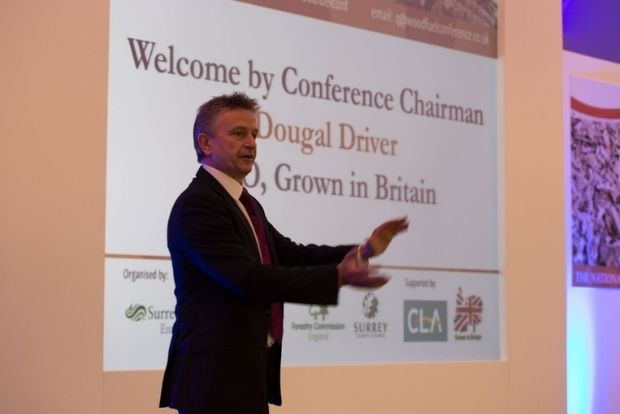 Chairman of the Forestry Conference, Dougal Driver, gives his welcome presentation at a last year's conference.